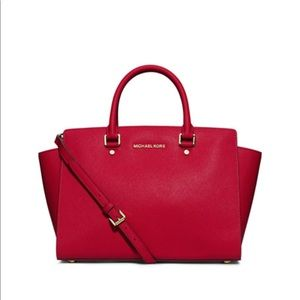 Michael Kors Selma Large Satchel Chili Red
